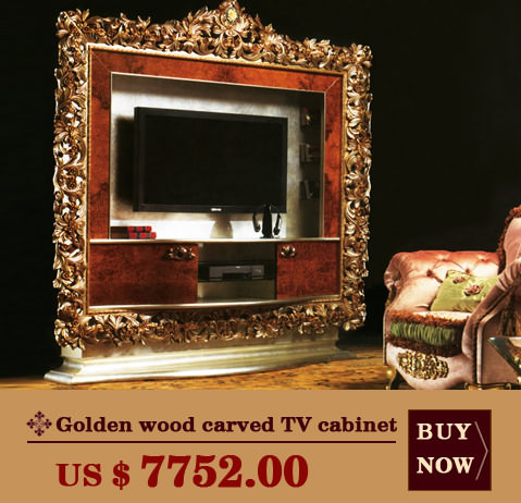 Golden wood carved TV cabinet