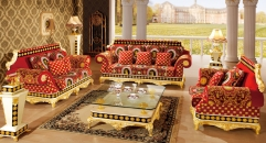 luxury Italy style wood carving sofa set and glass coffee table