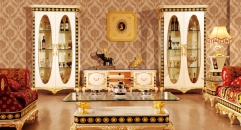 luxury Italy style wood carving TV table, double-door cabinet