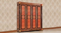 luxury Italy style wood carving Four-door wardrobe