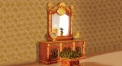 luxury Italy style wood carving dressing table, mirror, chair