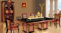 luxury Italy style wood carving long dining table and chair, double door cabinet