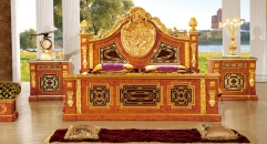 luxury Italy style wood carving bed and night table