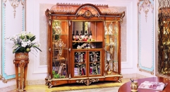 luxury European style woodcaring 4 Door Showcase, cabinet