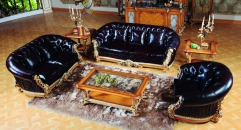 luxury European style woodcarving sofa set, coffee table, end table