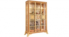 luxury European style woodcarving Three Door Showcase, cabinet