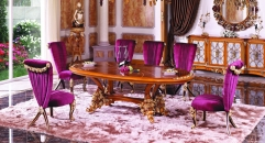 luxury European style woodcarving Oval Dining Table, armless chair, Kitchen Cabinet  set, rose decorated