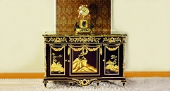 luxury European woodcarving curio ark, antique cabinet, glass top, ancient scene