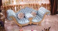luxury European style woodcarving loveseat, royal chair