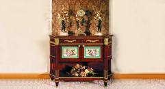 luxury European style woodcarving curio ark, antique cabinet, romantic scene