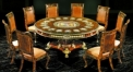 luxury European style wood carving portrait decorated Round Dining table, Armless Chair