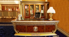 luxury European style woodcarving cabinet, office table set, three-door TV cabinet