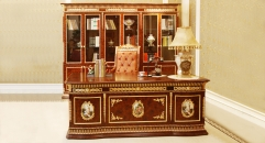 luxury European style woodcarving office table set, six-door bookcase, armed chair