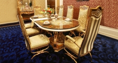 luxury European style woodcarving Oval dining table, armless chair, armed chair