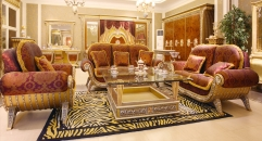 luxury European style woodcarving sofa set, glass coffee table, end table