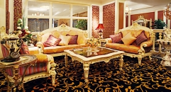 luxury European style woodcarving sofa set, square table, end table