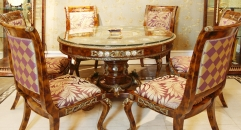 luxury European style woodcarving dining table, armless chair