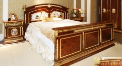 luxury European style woodcarving bedroom set, six-door wardrobe, coat rack