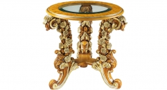 classical Baroque style wood carving small round rose table