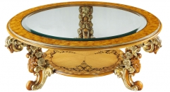 round classical Baroque style wood carving rose coffee table