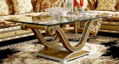 luxury new classical style wood carving long coffee table, glass top
