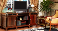 luxury new classical style wood carving high floor cabinet, TV stand