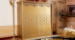 luxury new classical style wood carving 4-door wardrobe