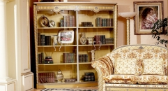 luxury new classical style wood carving glass door bookshelf, bookcase