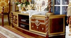 luxury new classical style wood carving low floor cabinet, TV stand