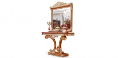 antique French style wood carving Console Table w/ mirror