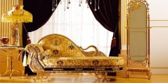luxury classical Gold 24K style couch, chaise lounge