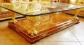 luxury classical Gold 24K style glass top coffee table, vase shape supports