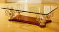 luxury classical Gold 24K style glass top coffee table, trophy shape supports