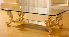luxury classical Gold 24K style glass top coffee table, dolphin supports