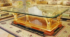 luxury classical Gold 24K style coffee table, decorative supports