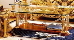 luxury classical Gold 24K style glass top coffee table