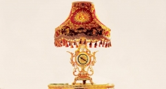 luxury decoration antique Gold 24K style table lamp with clock