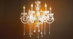 luxury decoration classical Gold 24K style candle shape chandelier
