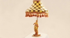 luxury decoration classical Gold 24K style female lady statue table lamp