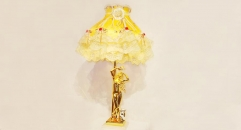 luxury decoration antique Gold 24K style female lady statue table lamp