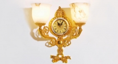 luxury decoration classical Gold 24K style wall lamp with clock