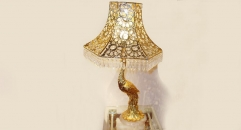 luxury decoration classical Gold 24K style peacock shape pierced table lamp