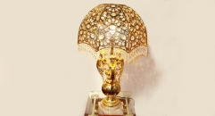 luxury decoration classical Gold 24K style pierced table lamp