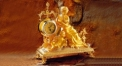 luxury decoration antique Gold 24K style sculpture decorated table clock