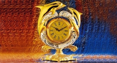 luxury decoration antique Gold 24K style dolphin table clock