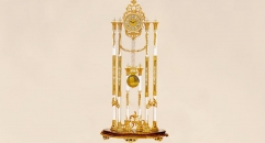 luxury decoration antique Gold 24K style electronic floor clock, pendulum clock