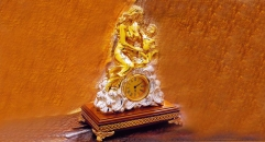 luxury decoration antique Gold 24K style table clock,maternal love theme