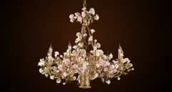 Luxury antique porcelain flower basket shape chandelier, pendent lamp,copper gold plated