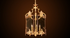 Luxury antique chandelier with glass, residential lighting,pendent lamp,copper gold plated