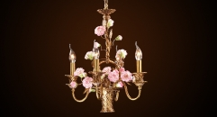 Luxury antique porcelain flower basket shape chandelier, pendent lamp,copper gold plat